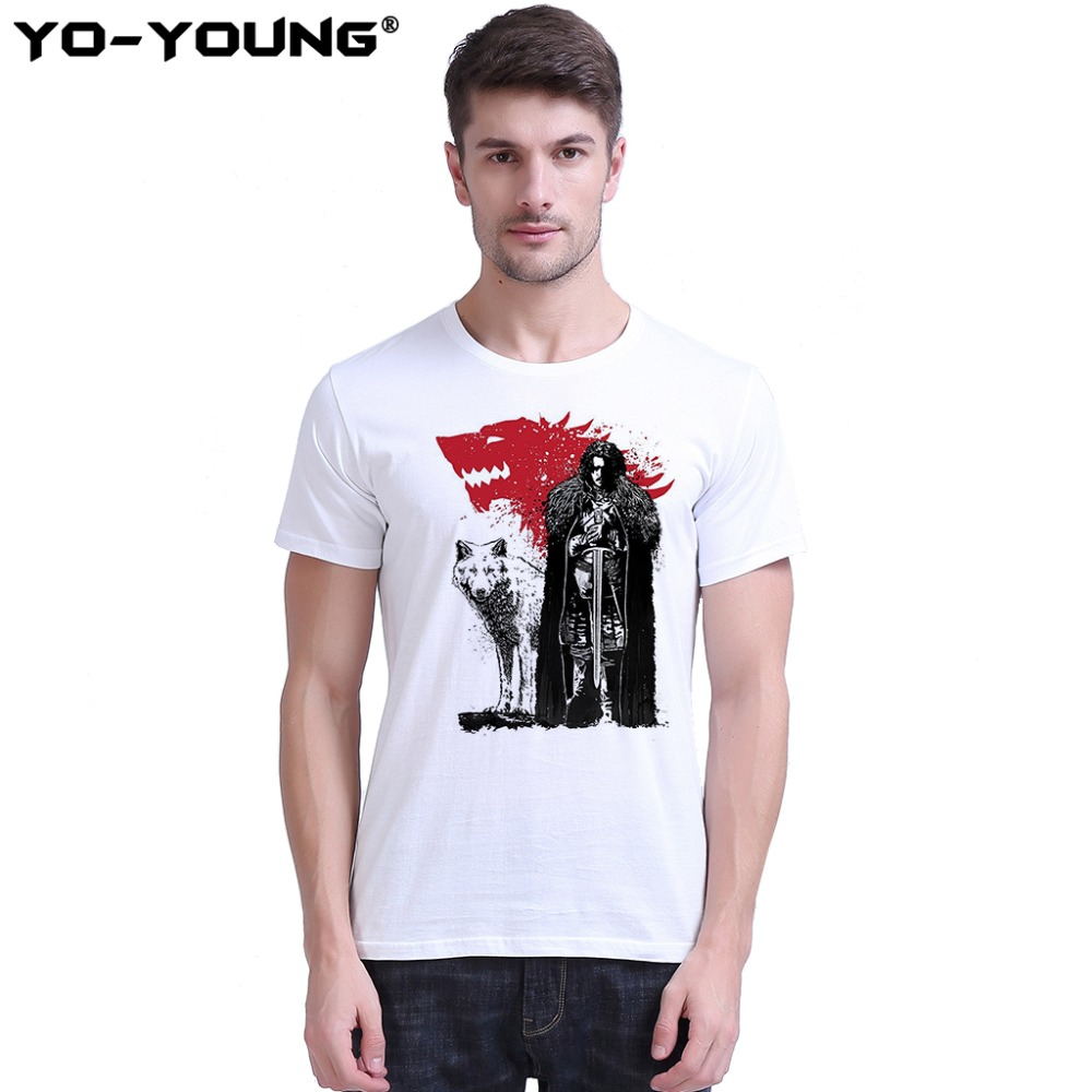 Game Of Thrones Jon Snow   T     shirts   Men Digital Print 100% 180 gsm Combed Cotton Casual   T     shirts   Short Sleeve Customized