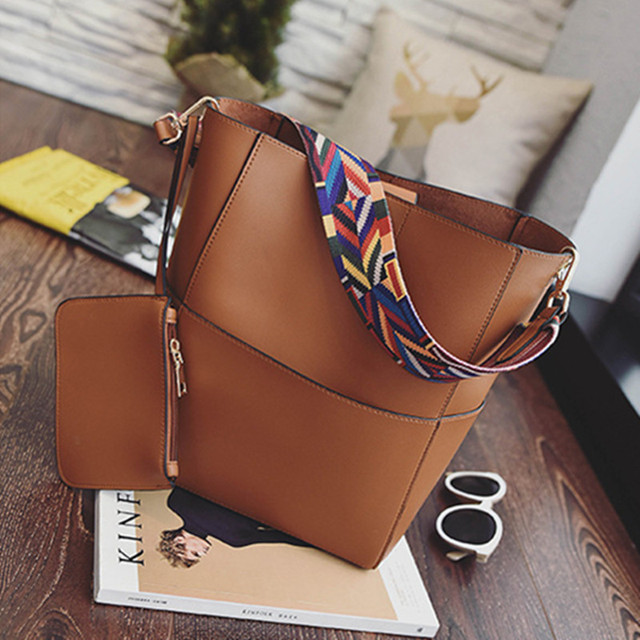 d593500374fc Fashion Colorful Strap Bucket bag Women PU Leather Wide Strap Shoulder bag  Handbag Brand Designer Ladies Crossbody Bags Color 4