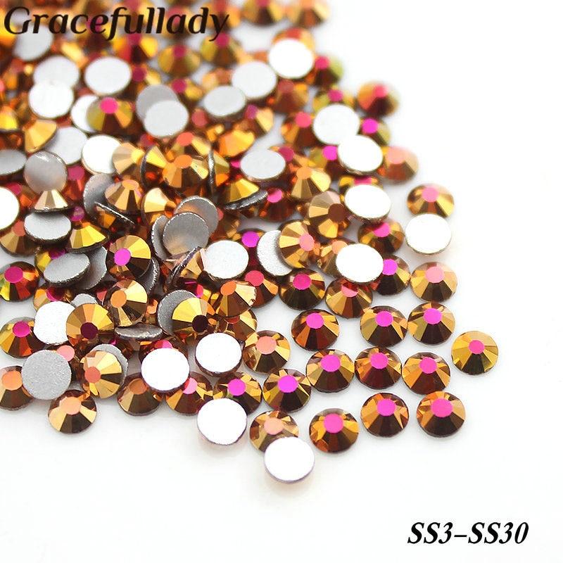 SS3 SS4 SS6 SS8 SS16 Золото Розового цвета без исправлений Стразы Flatback Стекло Strass 3D Украшения ногтей для дизайна ногтей