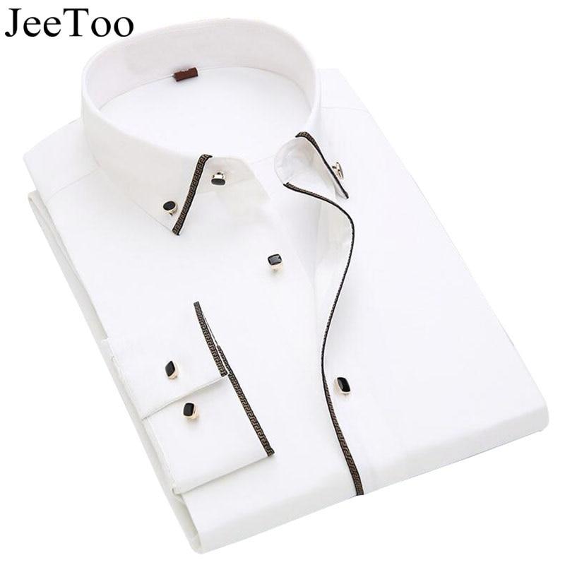Модная брендовая мужская рубашка хлопок белое платье рубашки мужские деловые рубашки Slim Fit формальные офисные рубашки мужской Camisa социальной masculina купить на AliExpress