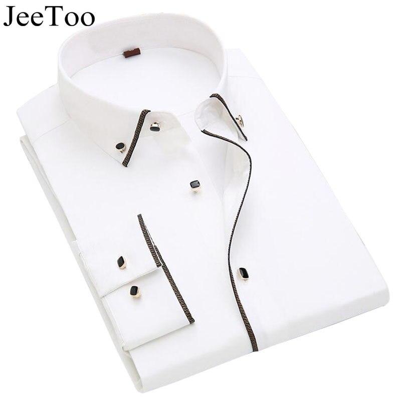JeeToo Cotton White Dress Shirts Men Slim Fit Male