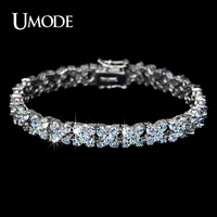 UMODE White Gold Plated Top Grade Clover Shaped AAA CZ Diamond Tennis Bracelets For Women Wholesale