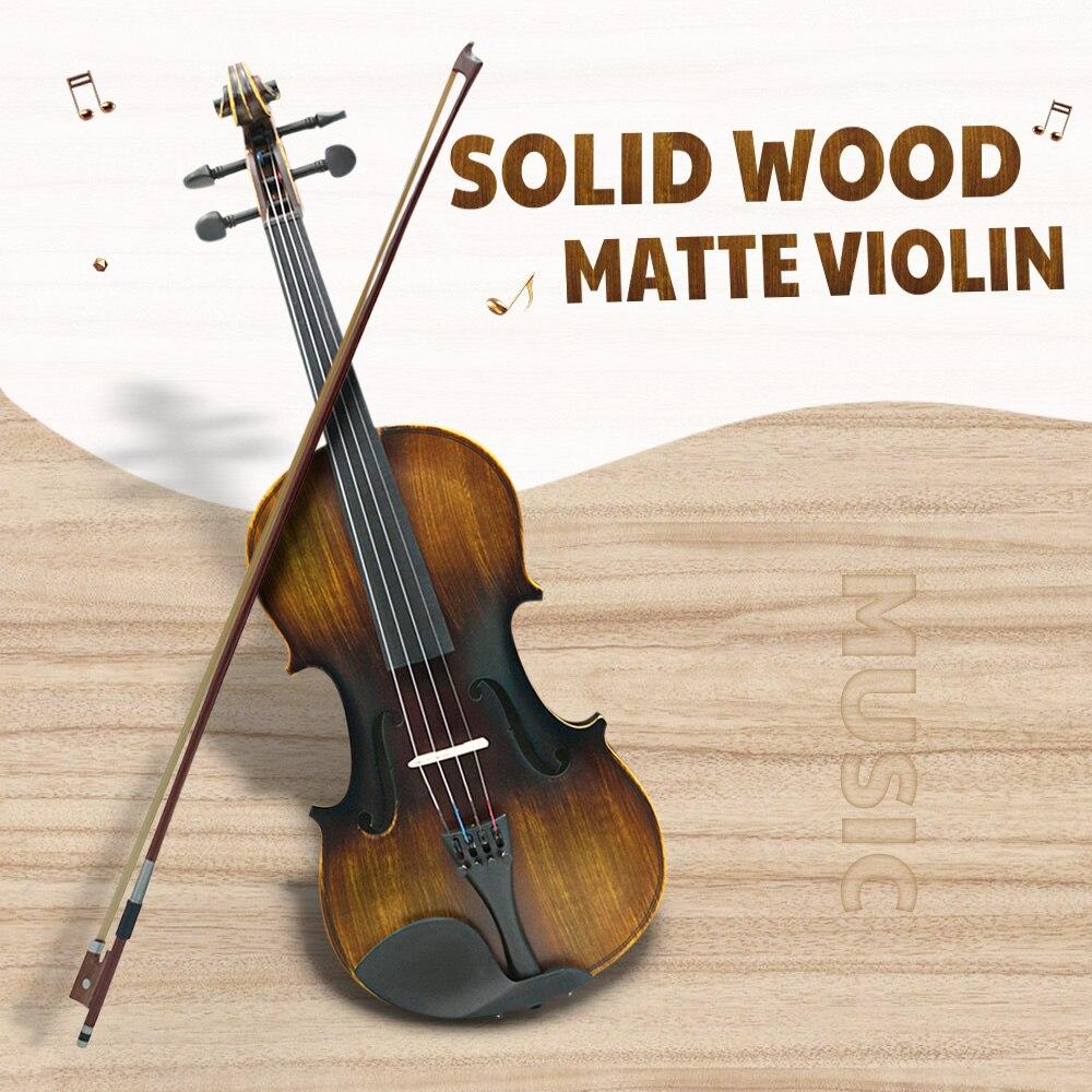 IRIN AV-206 4/4 bois massif mat violon éducatif acoustique Instruments de musique enfants apprentissage outil violon pour enfants jouet cadeau