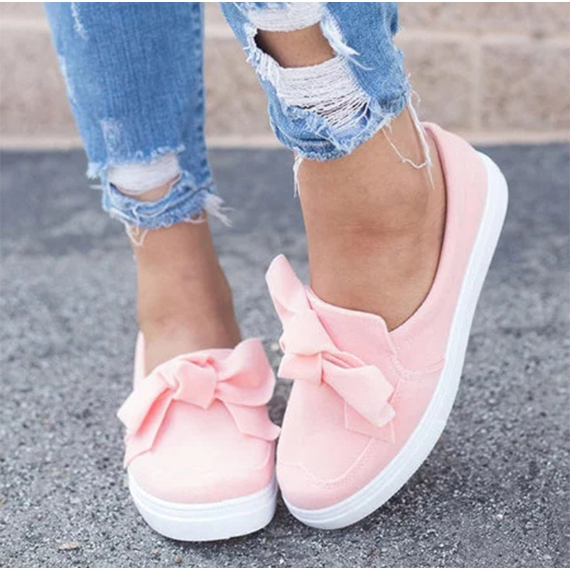 089c8c9441b3 MCCKLE Autumn Casual Flat Plus Size Women Sneakers Ladies Suede Bow ...