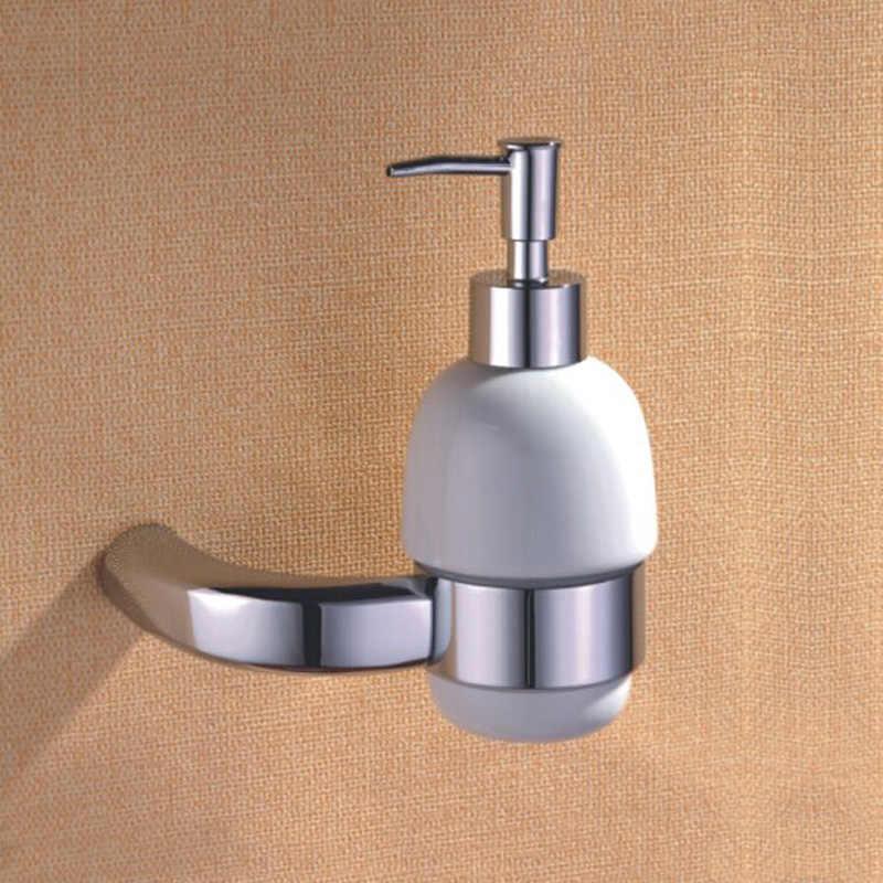 Mosiądz łazienka sprzętu zestawy ceramiczne pompka do mydła, wieszak na płaszcz, uchwyt na papier, wieszak na ręczniki z polerowanego chromu, 5 sztuk/partia