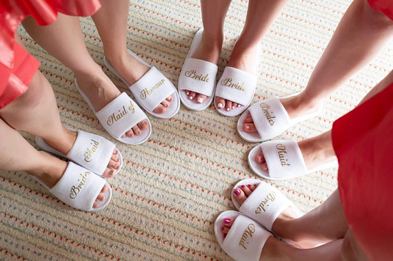 Personalized Glitter Bride Bridesmaid Groomsmen Spa Slippers Wedding Birthday Hen Night Party Favors Company Gifts