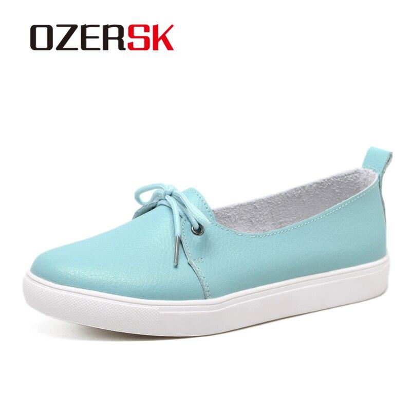 Ozersk marca primavera outono novas cores doces mulher apartamentos sapatos casuais macio couro do plutônio rendas acima mocassins mais tamanho 35 35 41