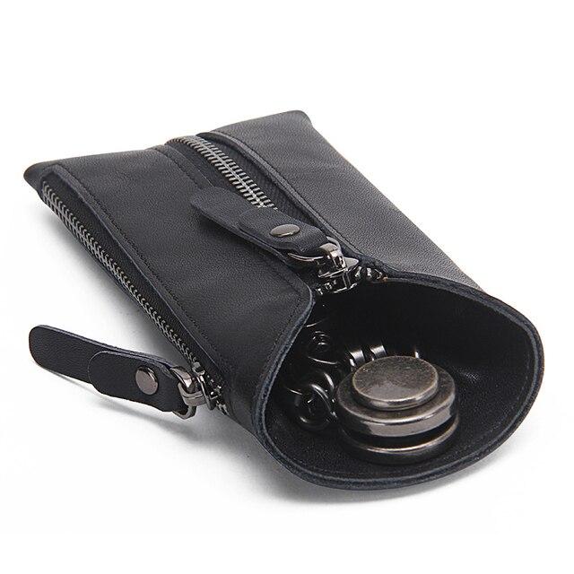 CONTACT'S Vintage Genuine Leather Key Wallet Women Keychain Covers Zipper Key Case Bag Men Key Holder Housekeeper Keys Organizer 5
