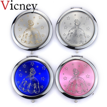 Vicney New simple fashion princess Makeup Mirror Folding Double-Sided Cute Pocket Beauty Accessories for girls
