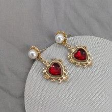 New   2019 Baroque Earrings Peach Heart Pearl  Earrings  rhinestone earrings  drop   long  chandelier earrings