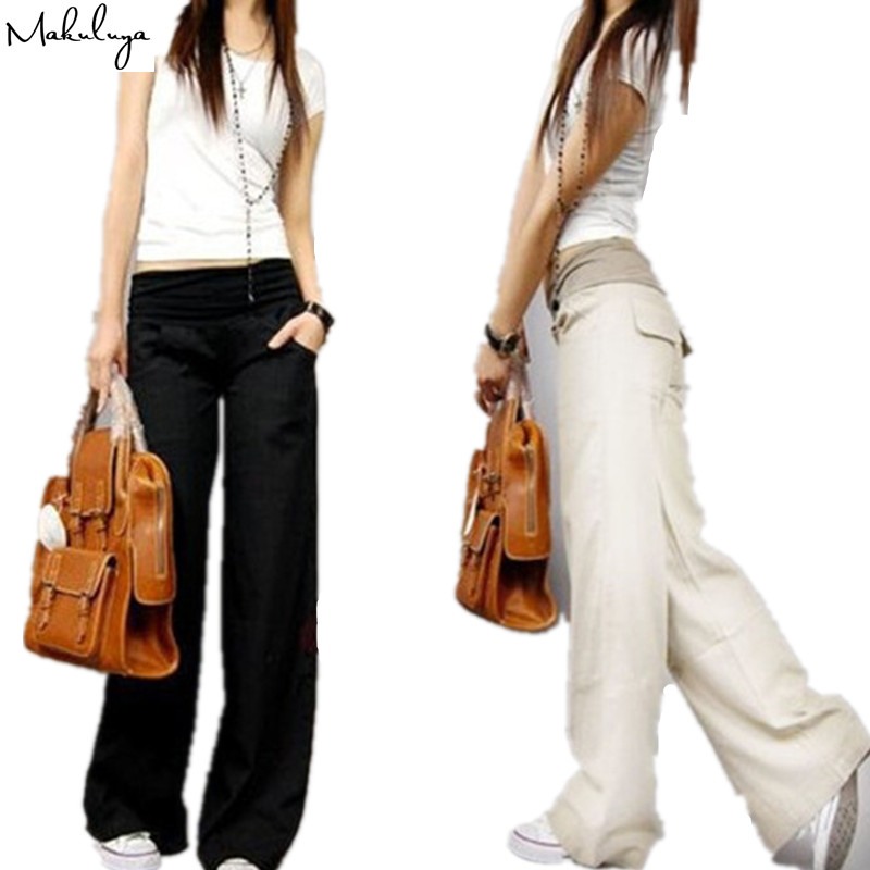 Makuluya2019 Better Linen FREEOEM Linen Elastic Waist All-Match Wide Leg Casual Top Straight Pants Comfortable Loose Trousers L6
