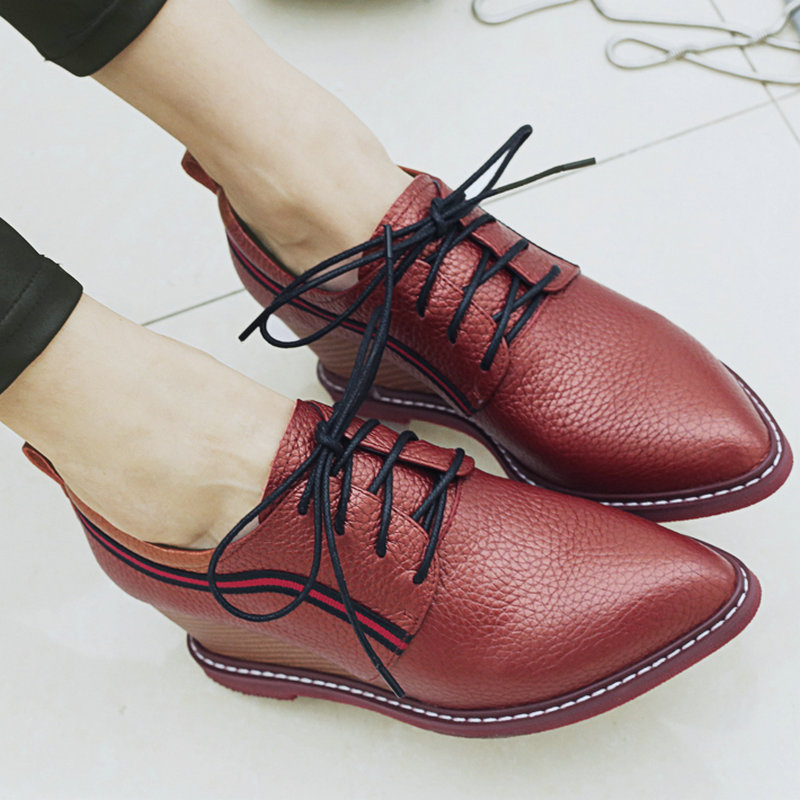 ФОТО AIWEIYi Lace up Platform Pumps Shoes Oxfords Shoes Woman Spring Fall Wedges Shoes Genuine Leather Women High Heels Casual Shoes