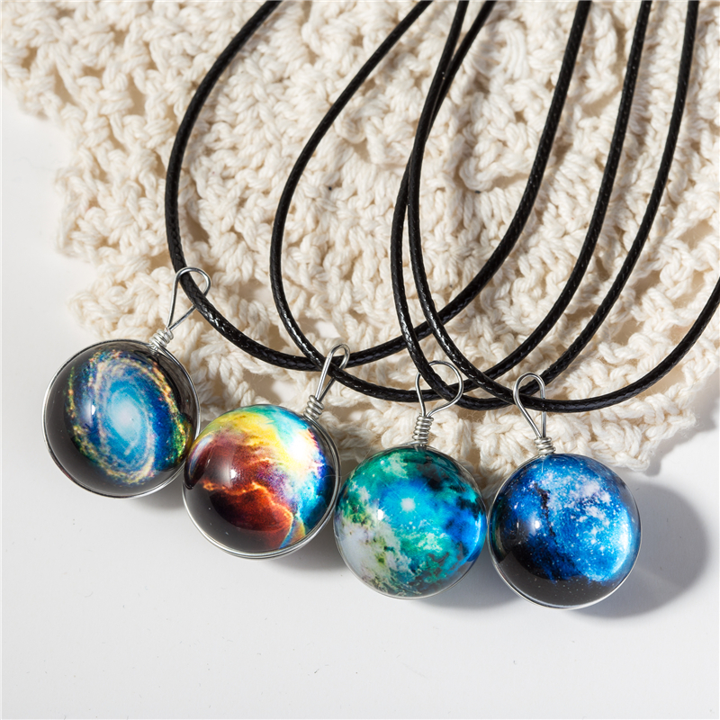clear crystal ball necklace