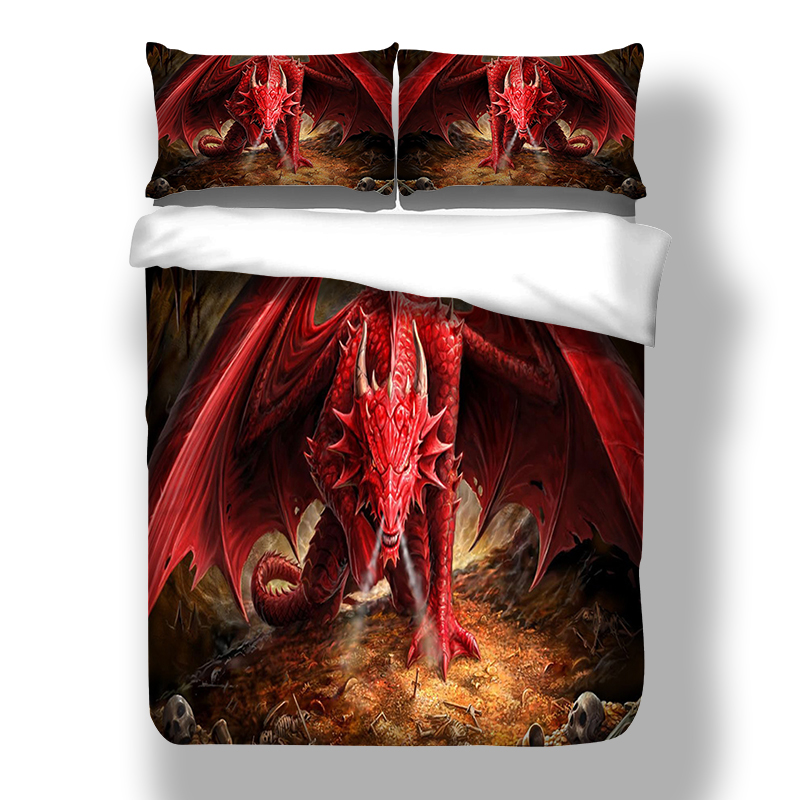 Wongsbedding 3D Bedding Set Red Dragon HD Print Animal Duvet Cover Bed Sheet Twin Full Queen King Size 3PCS Bedding