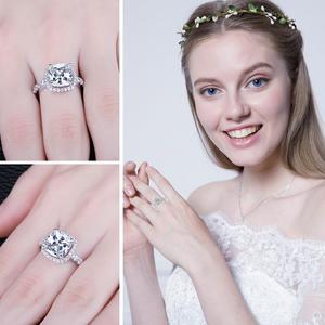 Image 4 - JewelryPalace 3ct CZ Halo אירוסין טבעת 925 טבעות כסף סטרלינג לנשים יום נישואים טבעת חתונת טבעות כסף 925 תכשיטים