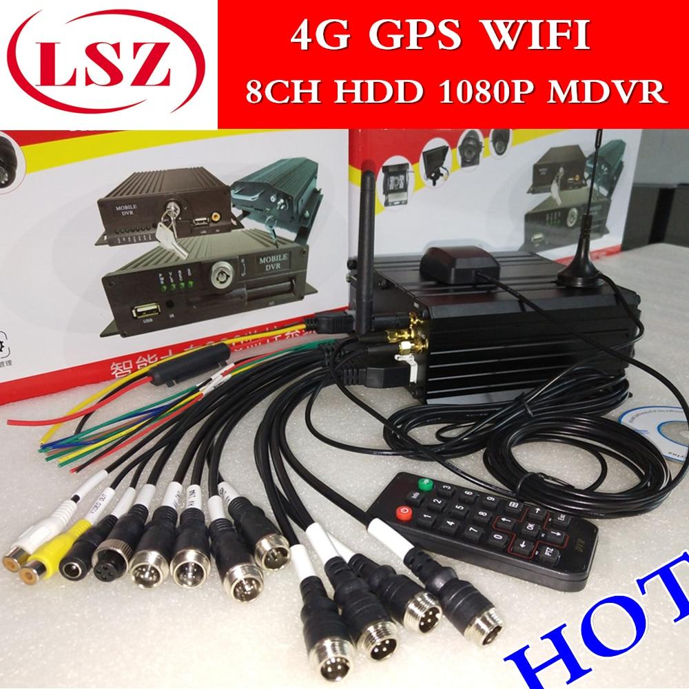 8CH hard disk MDVR 4G GPS WiFi remote host di monitoraggio camion/bus/bus della scuola speciale 1080 P VCR
