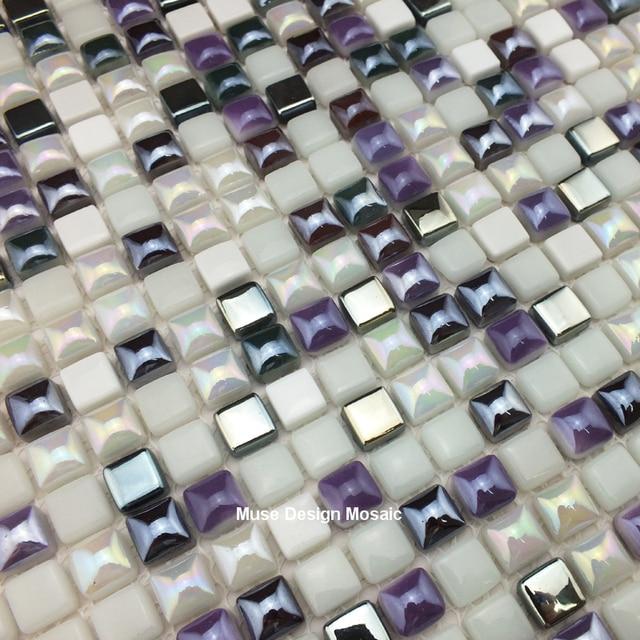 Amazing Silber Lila Weiß Glasmosaik Wandfliese Für Kithchen Backsplash Badezimmer  Grenze Fliesen DIY Hauptdekor Tapete Aufkleber