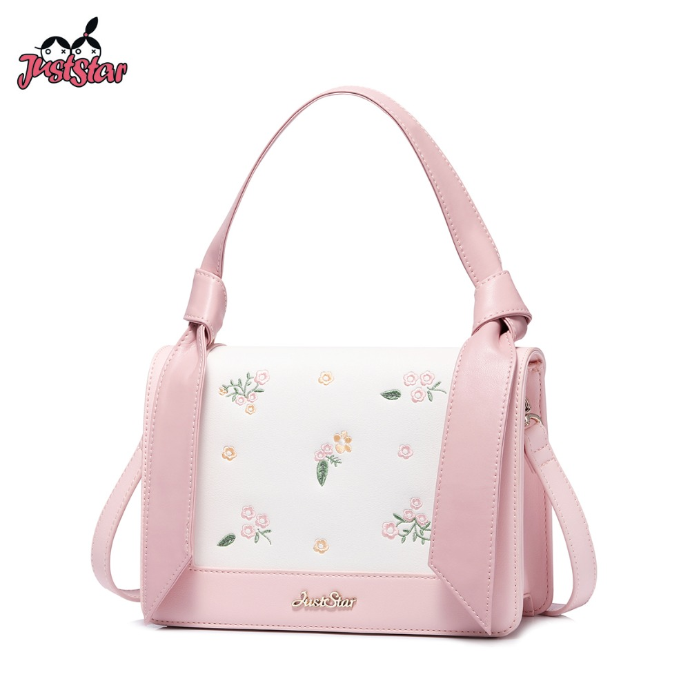 JUST STAR Women s Leather Handbags Ladies Fashion Flower Embroidery Tote Purse Female Pink Flap Sweet