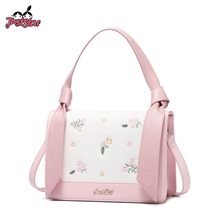 JUST STAR Women s Leather Handbags Ladies Fashion Flower Embroidery Tote  Purse Female Pink Flap Sweet Crossbody Bags 54433aea5451b
