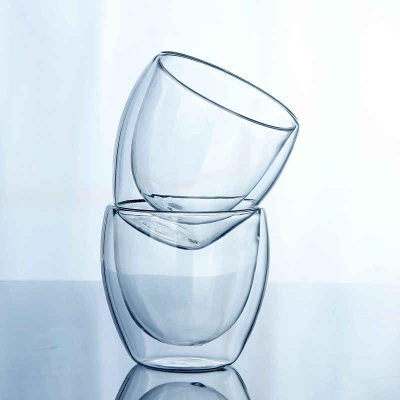 2018 novo e chegada clássico 150 ou 250 ou 350 ou 450 ml vidro parede dupla copos de café transparentes isolamento chá escritório