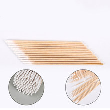 Top 100pcs 7cm Wood Cotton Swab Cosmetics Permanent Makeup Health Medical Ear Jewelry Clean Sticks Buds Tip(China)