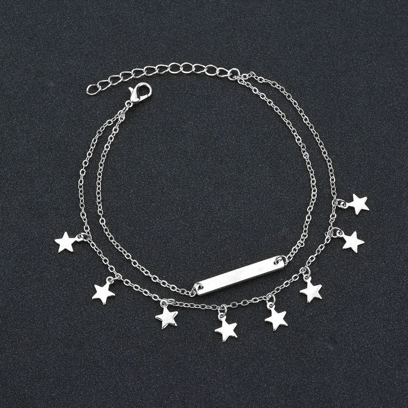 Fashion Double Layer Anklet Star Tassels Pendant Foot Chain Woman Boho Ankelt Foot Bracelet On The Leg Jewelry for Women's Gifts 4