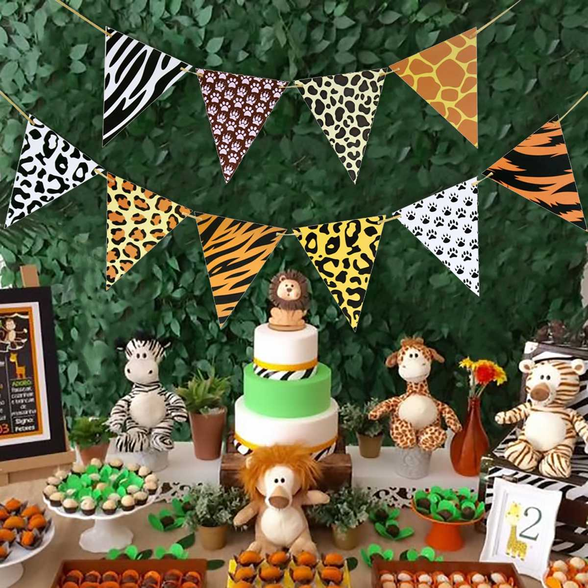 Fengrise Disposable Tableware Jungle Party Birthday Party Decor Kids Jungle Safari Party Animals Theme Baby Shower Supplies