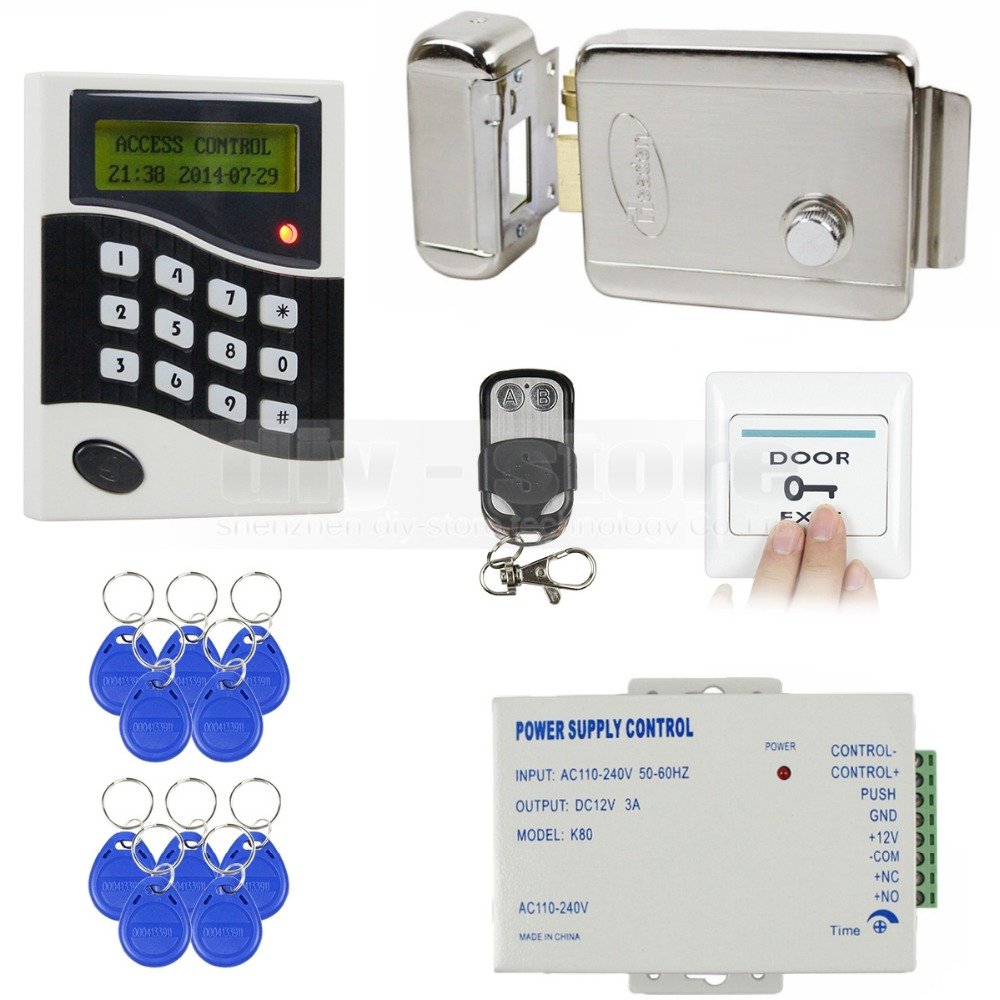 DIYSECUR 125KHz RFID ID Card Reader Password Keypad Door Access Control System Kit + Electric Lock + Free 10 ID Key Fobs B100 wholesale new white rfid card reader code keypad door access control system electric strike door lock in stock free shipping