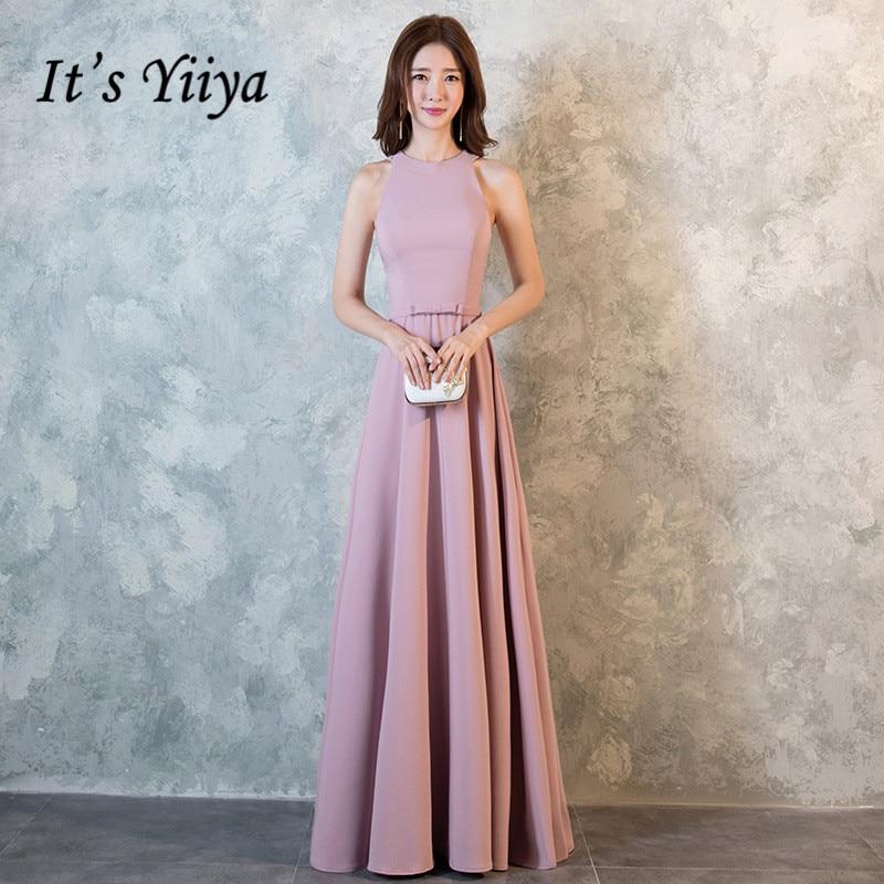 It's YiiYa Elegant O-Neck Sleeveless Dinner Party Formal   Dresses   Simple Floor-Length   Evening     Dress   LX147
