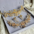 Nova 100% hecho a mano lujos Tiara del pendiente del collar de la joyería conjunto nupcial Rhinestone cristalino de la flor gargantilla Necklace Set