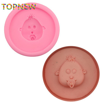 eco-friendly material cake decorating mold tools babyface shaped silicone fondant mould chocolate soap mold tool 2388 image