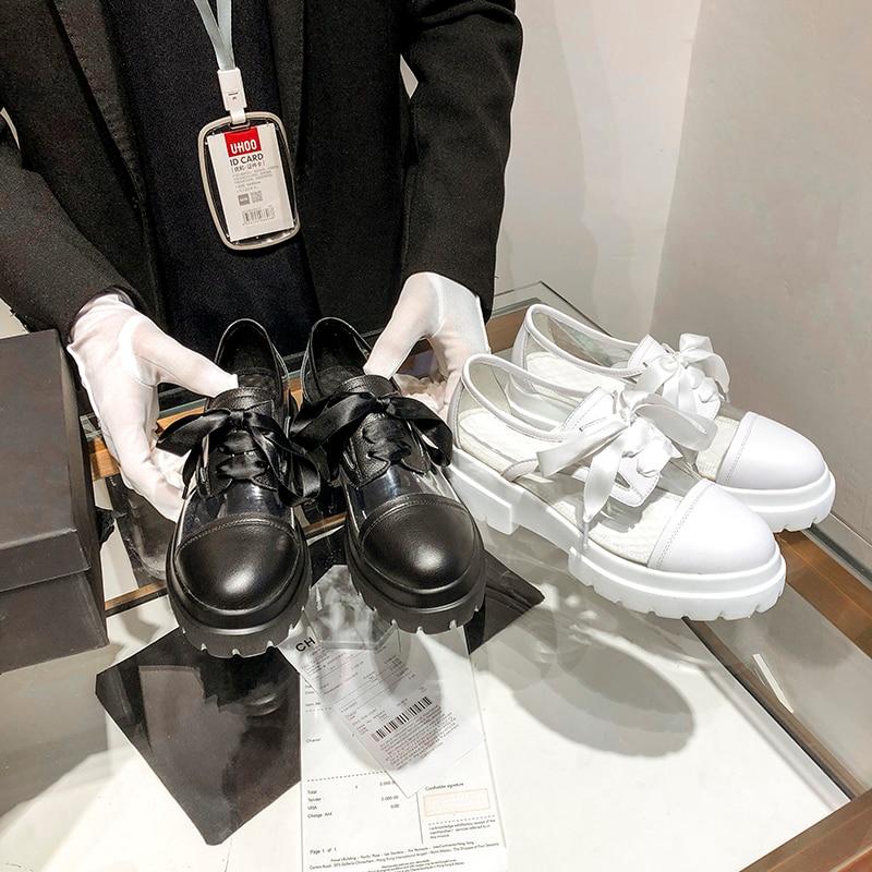 Appartements Chaussures Plate Printemps Rond Vache Liée Mouillé blanc Croix 2019 forme Femmes Noir Casual Baiser Mode Bout Pvc Leathe Femme 8nqPTEEgw