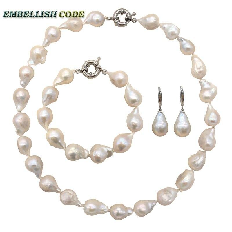 Prix bas collier bracelet crochet boucles d'oreilles taille normale baroque perle ensemble couleur blanche nucléé flameball forme eau douce spécial