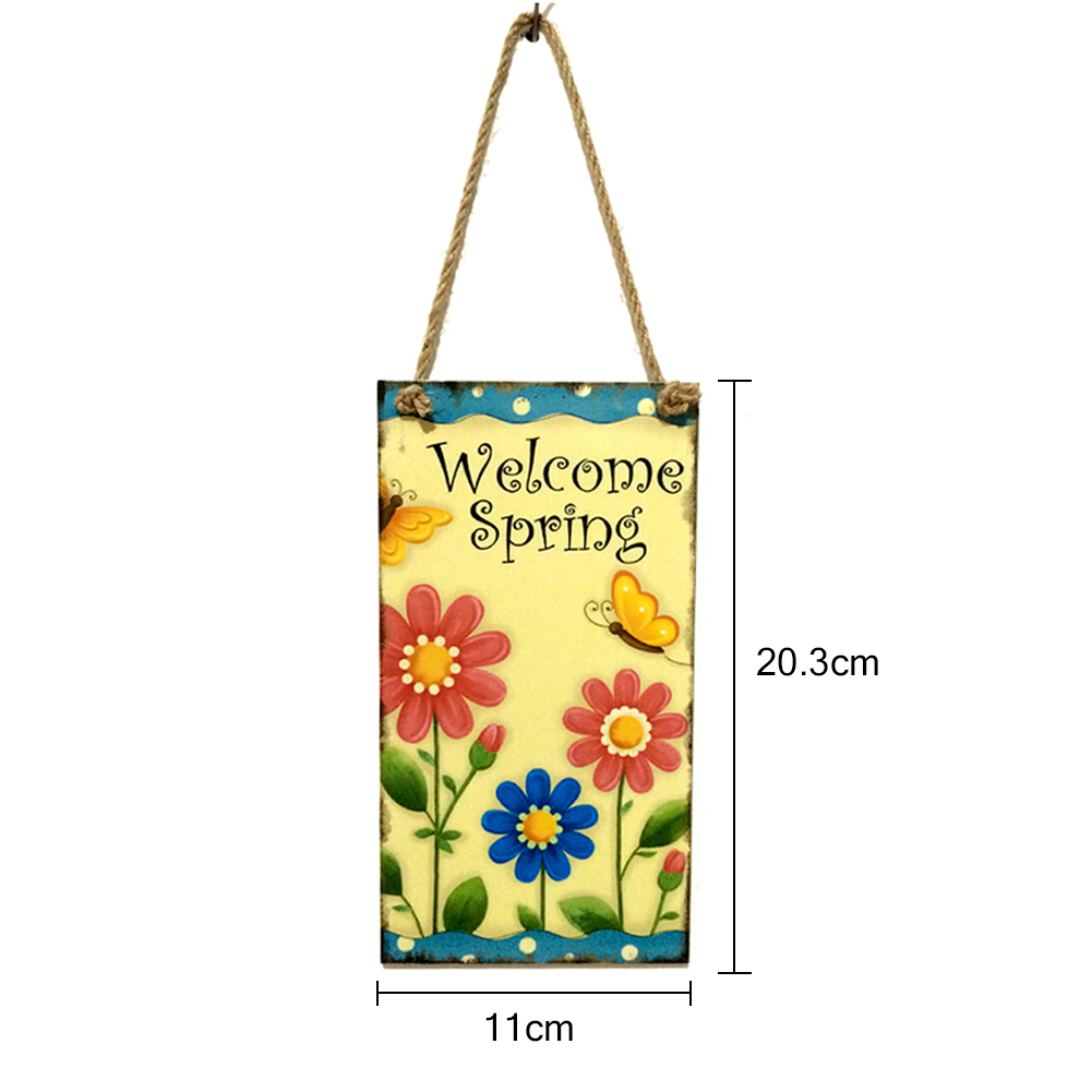 Easter Day Hanging Plaque Welcome Spring Sign Flower Butterfly Door ...
