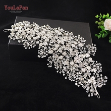 YouLaPan HP240 Alloy Flower Hair Accessories Handmade Rhinestones Jewelry Wedding  Bridal Headpiece