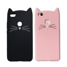 3D Cartoon Smile Cat Ears Beard Soft Silicone Case For Huawei P10 P9 P8