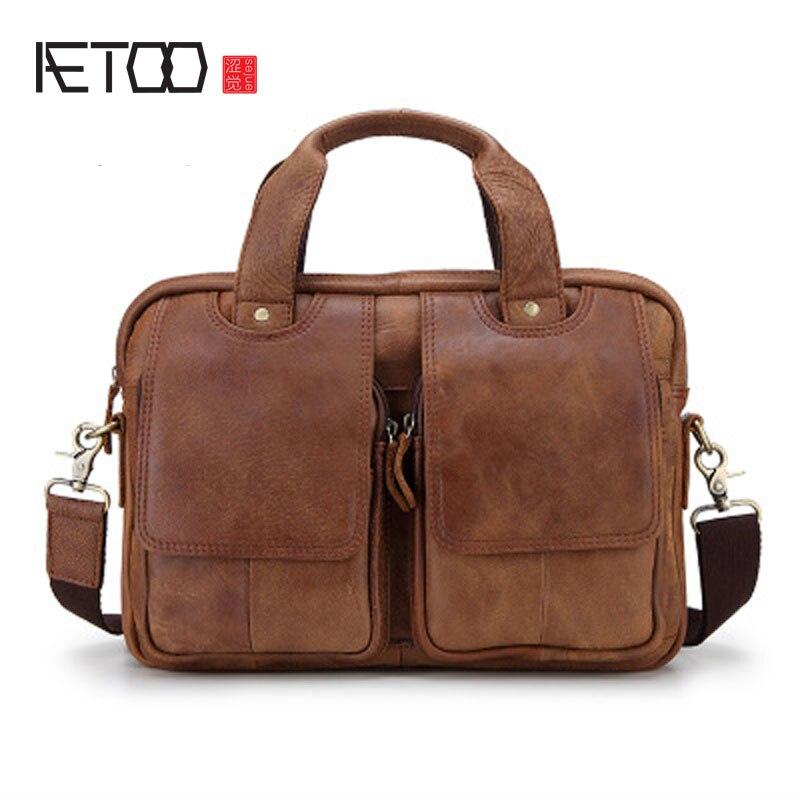 AETOO Retro Men's Handbag Handbags Men's First Skins Messenger Bag Multifunctional Business Travel Bag Soft Leather skins skins a200 ls