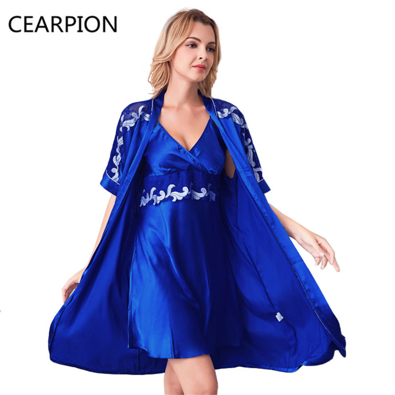 CEARPION Blue Sexy Nightie&Robe Set Rayon Lace Hollow Out Sleepwear Women Kimono Bath Robe Gown Embroidery Flower Nightwear