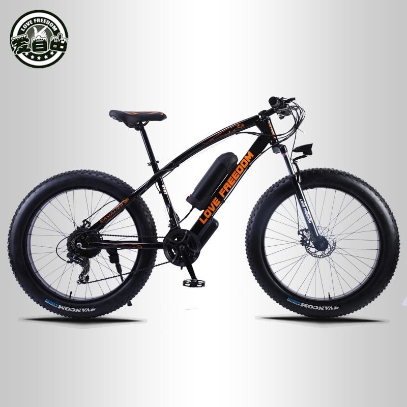 Amam A Liberdade 24 velocidade Mountain Bike Bicicleta Elétrica 36 V 350 W 10.4Ah 26X4.0 poderoso Gordura bicicleta elétrica entrega gratuita