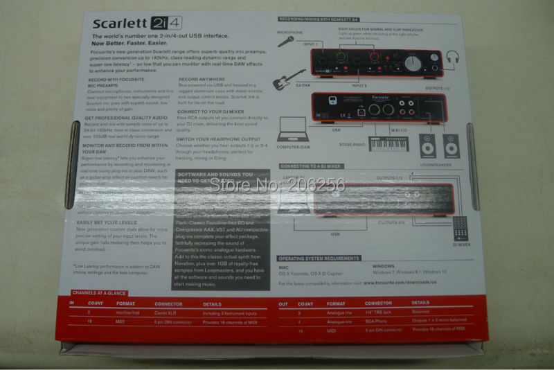 Upgraded New FOCUSRITE Scarlett 2i4 2nd Gen USB audio