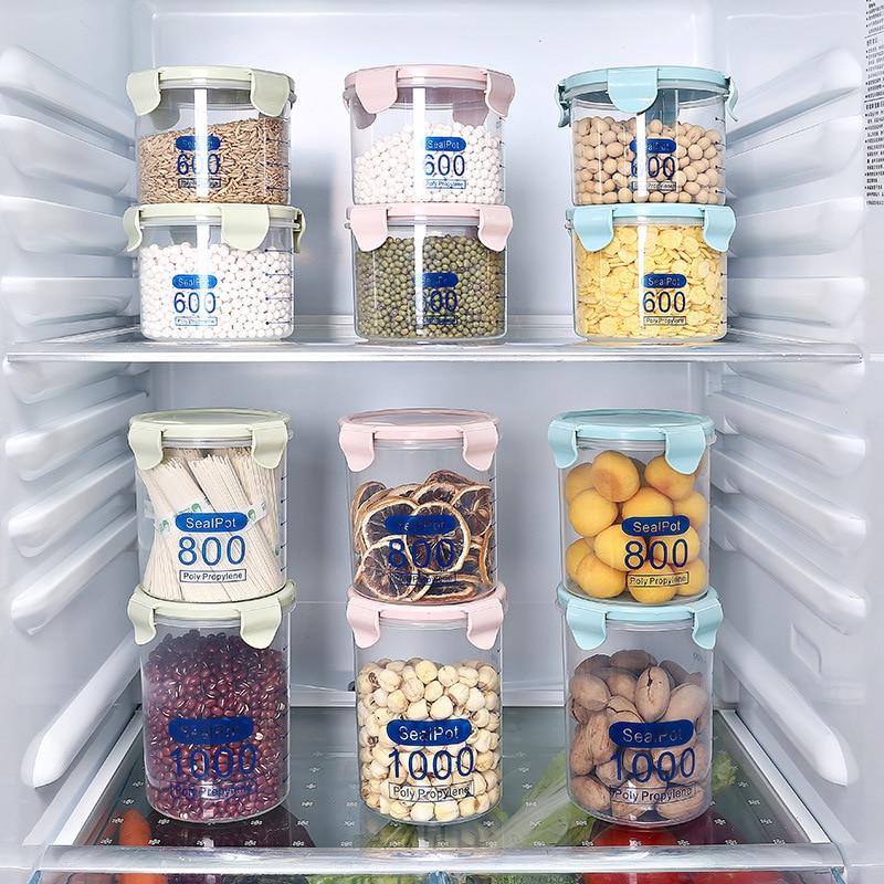Three Sizes Plastic Kitchen Food Storage Boxes Cereal Grain Bean