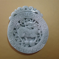 TJP Natural grade A jadeite carved round kirin Sweater chain pendants jade with certificate together
