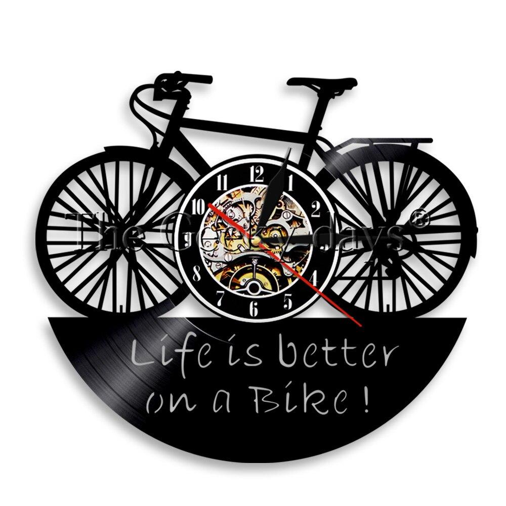 Reloj de pared con disco de vinilo para bicicleta, reloj de pared para bicicleta, decoración Vintage para oficina, regalo para amigos