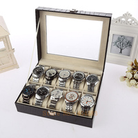 1pc 10 Grid PU Leather watch display box stone patteren watch case with pillow with lock