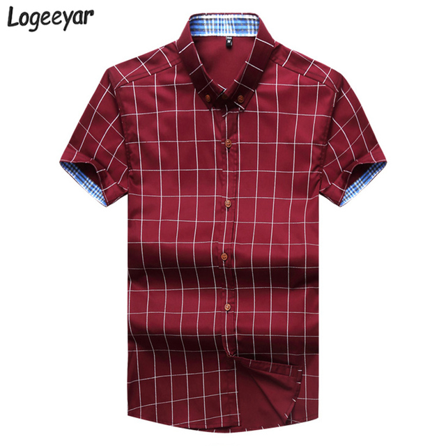 7278ecebee6 2017 Brand New Fashion Summer Short Sleeve Men s Shirt Men Plaid Shirt  Cotton Casual Slim Fit Dress Shirts Men Clothes 4XL 5XL