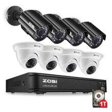 ZOSI 1280TVL 1080N HD TVI DVR 8CH HD Sistema de Cámaras de Seguridad con 8 cámaras para Interiores/Impermeable Al Aire Libre Cámara de Seguridad 1 TB de DISCO DURO