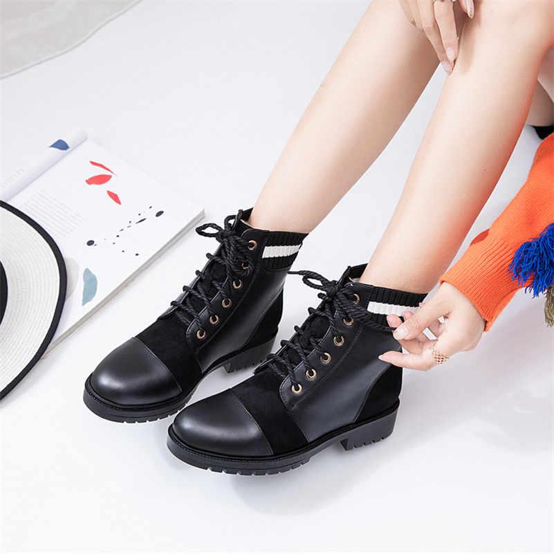 FEDONAS Kış Yeni Vintage Yuvarlak Ayak Kadın yarım çizmeler Lace Up Yüksek Topuklu Sentetik Deri kısa çizmeler Ofis parti ayakkabıları Kadın