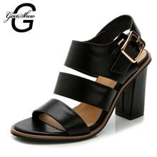 GENSHUO Fashion Women Sandals Summer Black Peep Toe Sandalias De Salto Gladiator Sandals Women Zapatos Mujer Women Heel Sandals