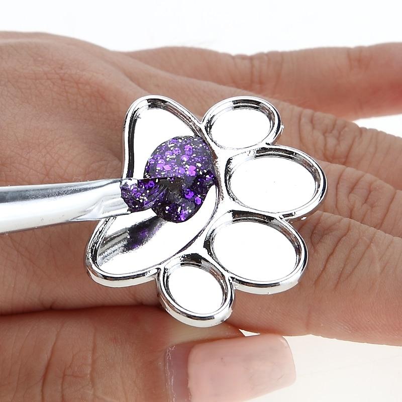 Mini Nail Art Metal Finger Ring Palette Mixing Acrylic Gel