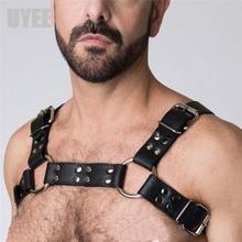 UYEE Mens Lingerie Belt Pu Leather Adjust Rave Body Bra Harness Holographic Bondage Costume Sexy Nightclub Chest Harness LM 001